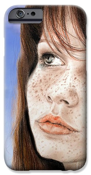 Pastel iPhone Cases - Red Hair and Freckled Beauty Version II iPhone Case by Jim Fitzpatrick