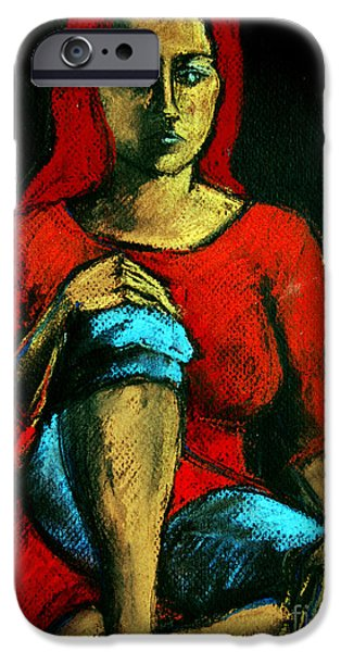 Thinking Pastels iPhone Cases - Red Hair Woman iPhone Case by Mona Edulesco