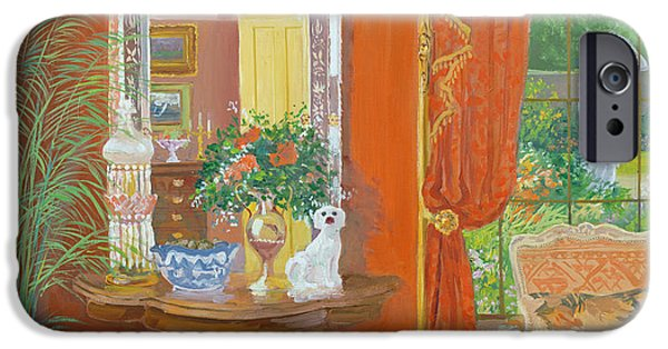 Cat Reflection iPhone Cases - Red Hallway Victorian Style Oil No Board iPhone Case by William Ireland