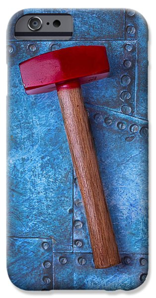 Work Tool iPhone Cases - Red Hammer iPhone Case by Garry Gay