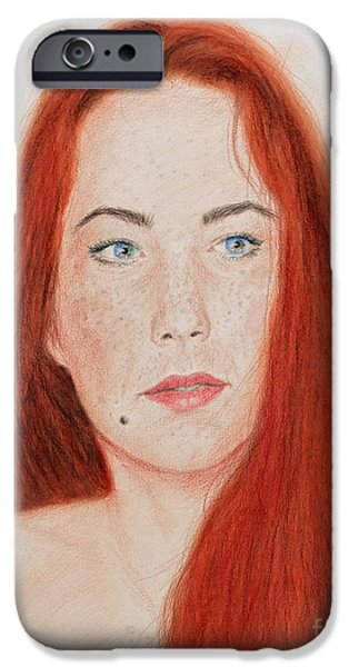 Beauty Mark Mixed Media iPhone Cases - Red Headed Beauty iPhone Case by Jim Fitzpatrick