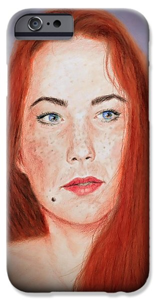 Beauty Mark iPhone Cases - Red Headed Beauty Vdersion II iPhone Case by Jim Fitzpatrick