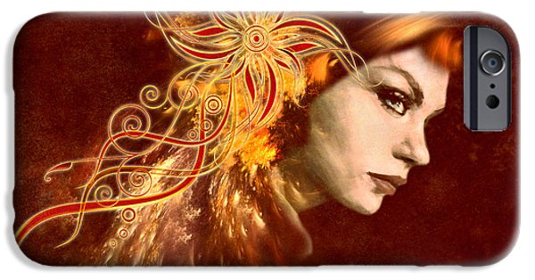 Business Digital iPhone Cases - Red Headed Woman Abstract Realism iPhone Case by Georgiana Romanovna