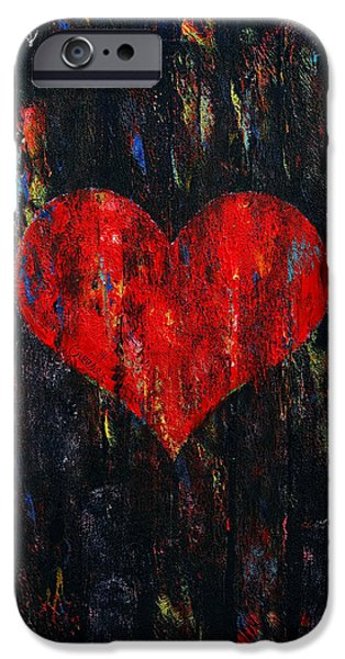 Michael Paintings iPhone Cases - Red Heart iPhone Case by Michael Creese