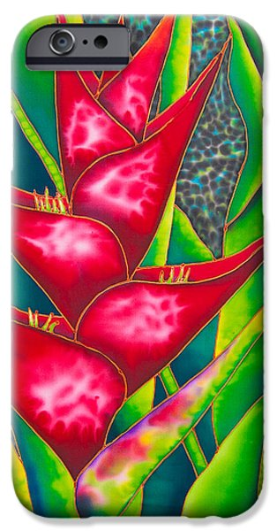Home Tapestries - Textiles iPhone Cases - Red Heliconia iPhone Case by Daniel Jean-Baptiste