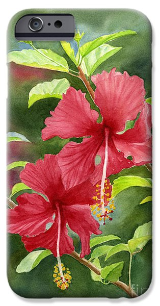 Hibiscus iPhone Cases - Red Hibiscus with Background iPhone Case by Sharon Freeman