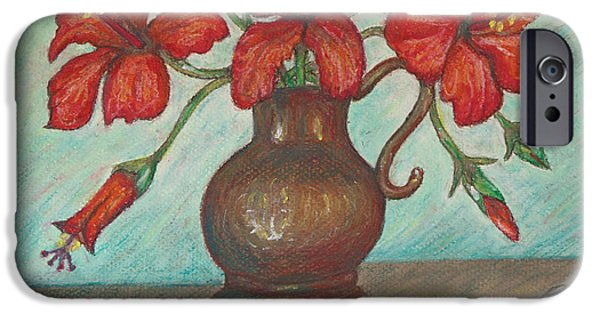 Interior Still Life Pastels iPhone Cases - Red Hibiscus with Blue Background iPhone Case by Claudia Cox