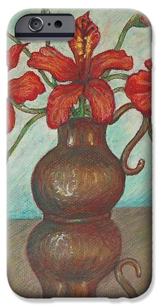 Red Hibiscus with Blue Background iPhone Case by Claudia Cox