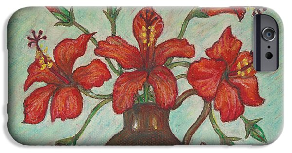 Poetic Pastels iPhone Cases - Red Hibiscus with Blue Background iPhone Case by Claudia Cox