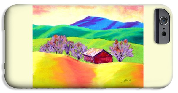 Barn Landscape Pastels iPhone Cases - Red Hill Barn iPhone Case by Nancy Jolley