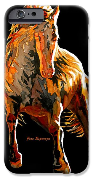 Unique Drawings iPhone Cases - RED HORSE in black iPhone Case by Jose Espinoza