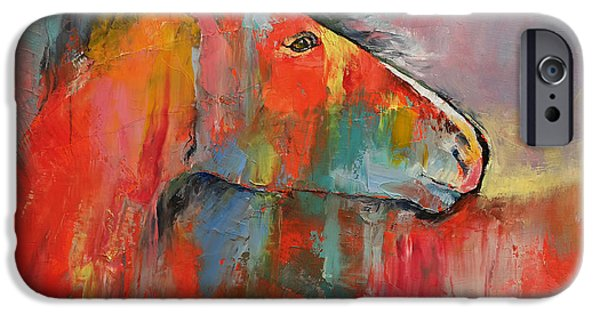 Michael Paintings iPhone Cases - Red Horse iPhone Case by Michael Creese