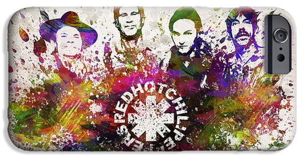 Metal iPhone Cases - Red Hot Chili Peppers in Color iPhone Case by Aged Pixel