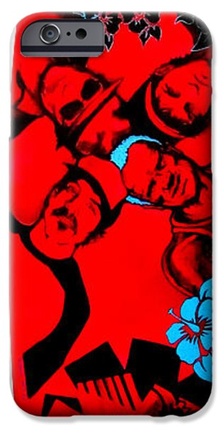 Red Hot Chili Peppers Paintings iPhone Cases - Red Hot Chili Peppers Surfboard iPhone Case by SaxonLynn Arts