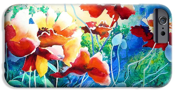 Blue Abstracts iPhone Cases - Red Hot Cool Blue iPhone Case by Kathy Braud