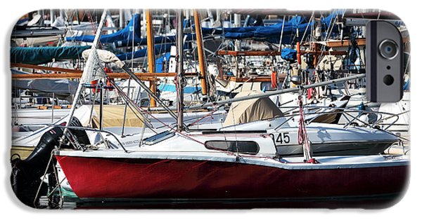 Sailboats In Water iPhone Cases - Red in the Port iPhone Case by John Rizzuto