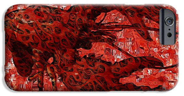 Muscular Digital iPhone Cases - Red Lobster 1 iPhone Case by Jack Zulli