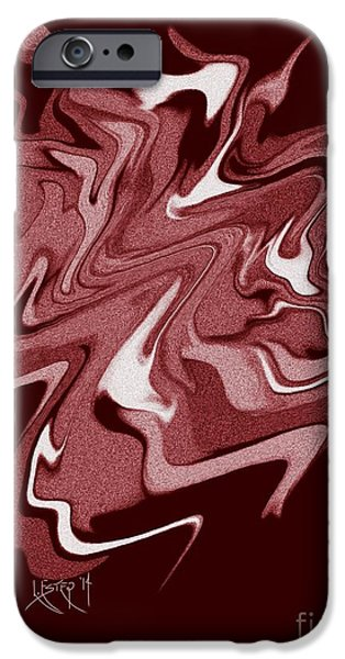 Abstract Digital Drawings iPhone Cases - Red Jag iPhone Case by Lisa Estep