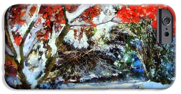 Wintertime Digital Art iPhone Cases - Red Japanese Maple in snow iPhone Case by Janine Riley