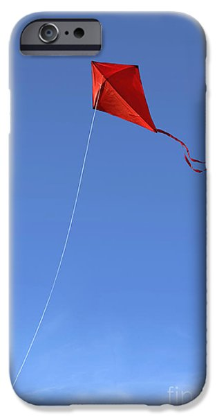 Kite iPhone Cases - Red Kite in the Sky iPhone Case by Diane Diederich