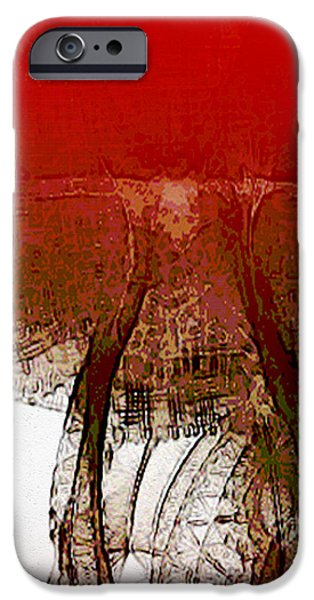 Night Lamp Mixed Media iPhone Cases - Red Lamp iPhone Case by Len YewHeng