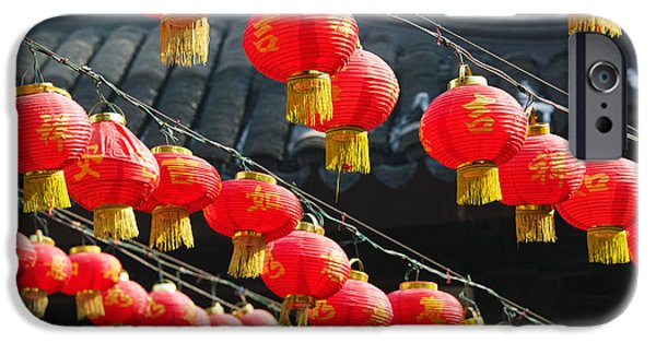Repetition Photographs iPhone Cases - Red Lanterns At A Temple, Jade Buddha iPhone Case by Panoramic Images