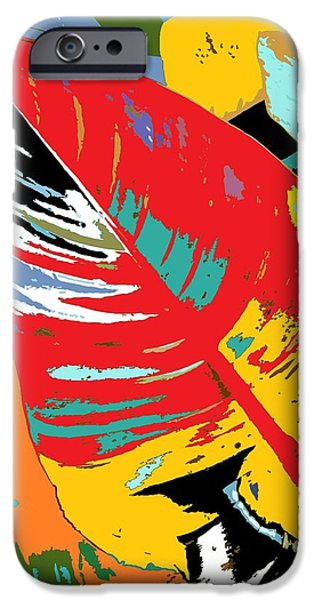 Alga Paintings iPhone Cases - Red Leaf iPhone Case by Julio R Lopez Jr