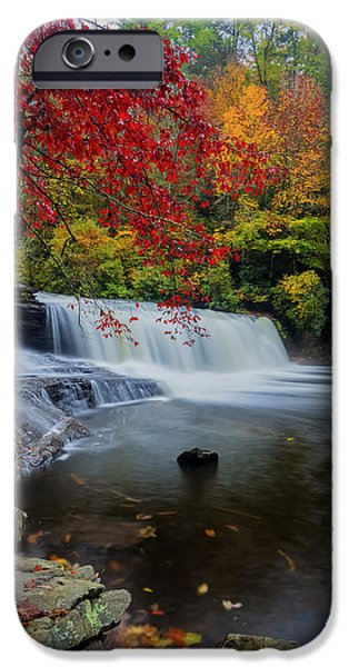 Water Photographs iPhone Cases - Red Leaves in Dupoint Park Hooker Falls iPhone Case by Andres Leon
