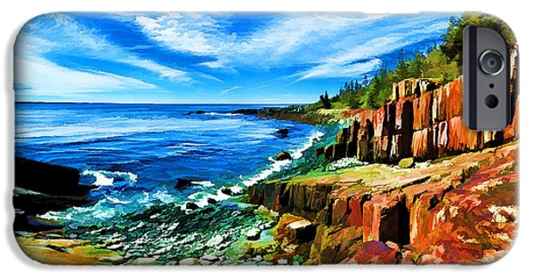 Quoddy Head State Park iPhone Cases - Red Ledge at Quoddy Head iPhone Case by Bill Caldwell -        ABeautifulSky Photography