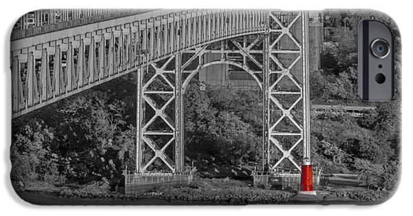 Foliage iPhone Cases - Red Lighthouse And Great Gray Bridge BW iPhone Case by Susan Candelario