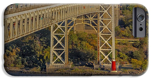 Foliage iPhone Cases - Red Lighthouse And Great Gray Bridge iPhone Case by Susan Candelario