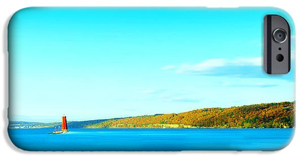 Beautiful Autumn Day iPhone Cases - Red Lighthouse In Cayuga Lake New York Panoramic Photography iPhone Case by Paul Ge