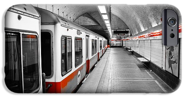 Selective Color iPhone Cases - Red Line iPhone Case by Charles Dobbs