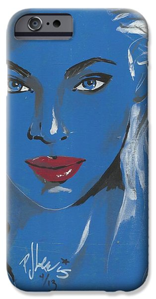 Beautiful Faces Paintings iPhone Cases - Red Lips iPhone Case by P J Lewis