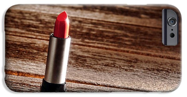 Lips iPhone Cases - Red Lipstick iPhone Case by Olivier Le Queinec