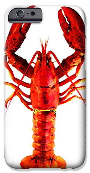 Red Lobster - Full Body Seafood Art iPhone Case by Sharon Cummings