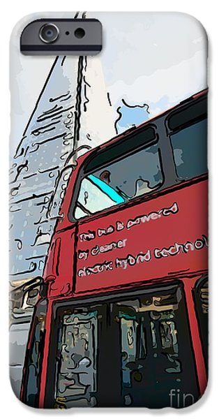 Ianmonk iPhone Cases - Red London Bus and The Shard - Pop Art Style iPhone Case by Ian Monk