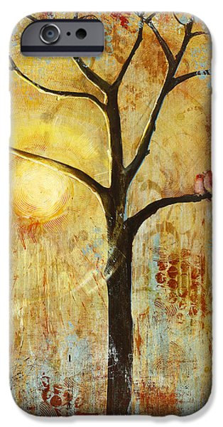 Sunset Paintings iPhone Cases - Red Love Birds in a Tree iPhone Case by Blenda Studio