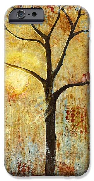 Red Love Birds in a Tree iPhone Case by Blenda Studio