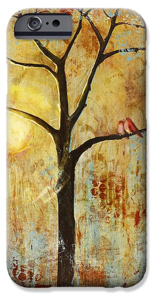 Couple iPhone Cases - Red Love Birds in a Tree iPhone Case by Blenda Studio