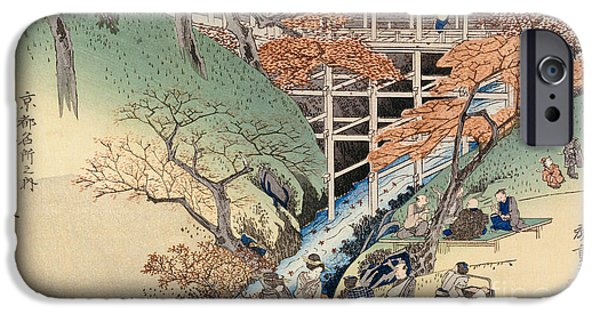Al Fresco iPhone Cases - Red Maple Leaves at Tsuten Bridge iPhone Case by Ando Hiroshige
