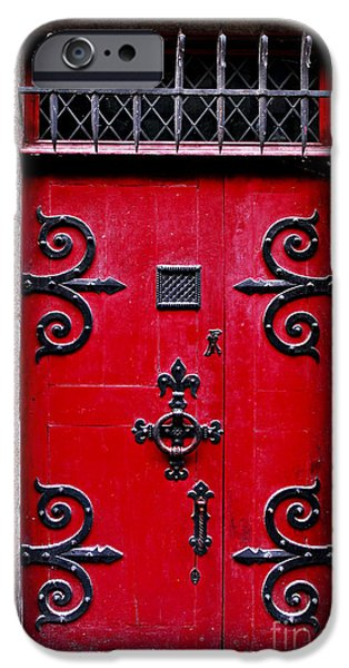 French Doors iPhone Cases - Red medieval door iPhone Case by Elena Elisseeva