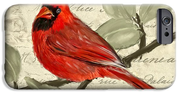 Cardinal iPhone Cases - Red Melody iPhone Case by Lourry Legarde