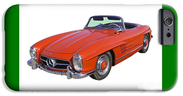 Sportcars iPhone Cases - Red Mercedes Benz 300 SL Convertible iPhone Case by Keith Webber Jr