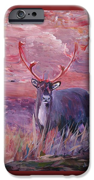 Swiss Mixed Media iPhone Cases - Red Mighty Moose Mongoose Reindeer Elk Rentier Caribou iPhone Case by M Bleichner