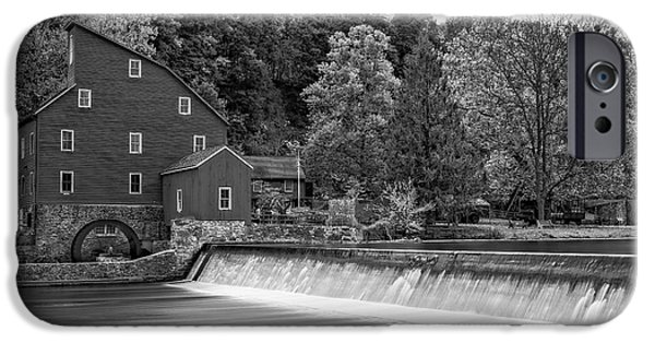 Building iPhone Cases - Red Mill At Clinton BW iPhone Case by Susan Candelario