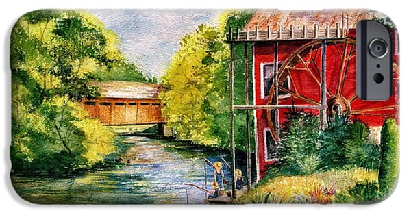 Marilyn Smith Paintings iPhone Cases - Red Mill at Waupaca iPhone Case by Marilyn Smith
