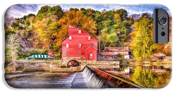 Grist Mill iPhone Cases - Red Mill painted iPhone Case by Geraldine Scull
