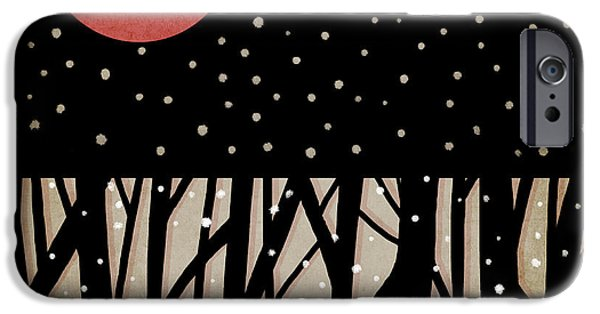 Lunar iPhone Cases - Red Moon and Snow iPhone Case by Carol Leigh