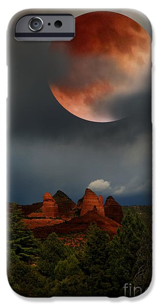 Recently Sold -  - Sedona iPhone Cases - Red Moon over Red Rock iPhone Case by Desi Callen